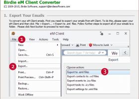 Convert eM Client to Microsoft Outlook screenshot